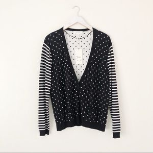 Two by Vince Camuto Stripe Polka Dot Cardigan